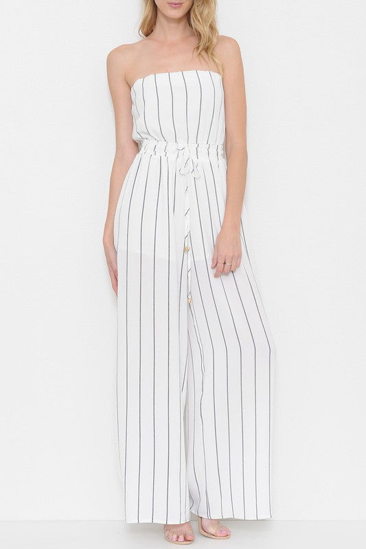 Summer Strapless Wide Leg White Contrast Maxi Romper