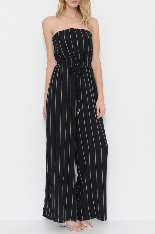Summer Strapless Wide Leg Black Contrast Maxi Romper