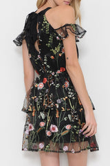 Summer Embroidery Floral Black Off Shoulder Dress