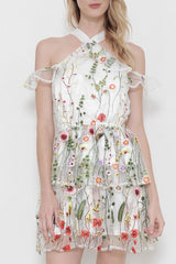 Summer Embroidery Floral White Off Shoulder Dress