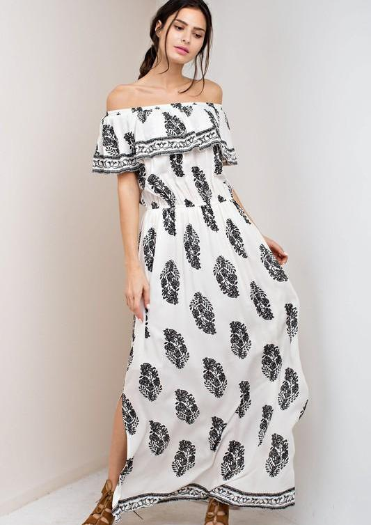 Casual Off Shoulder Ivory Maxi Dress with Black Print