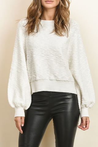 Fashion Puffy Sleeve White Sweater