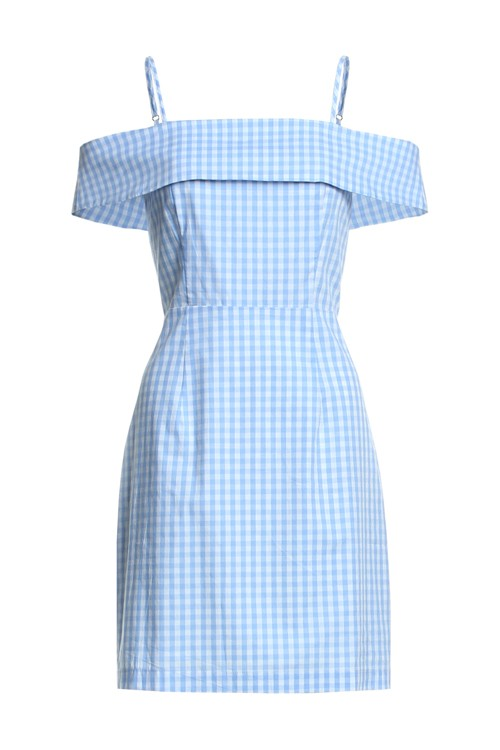 Summer Off Shoulder Blue Checkered Dress