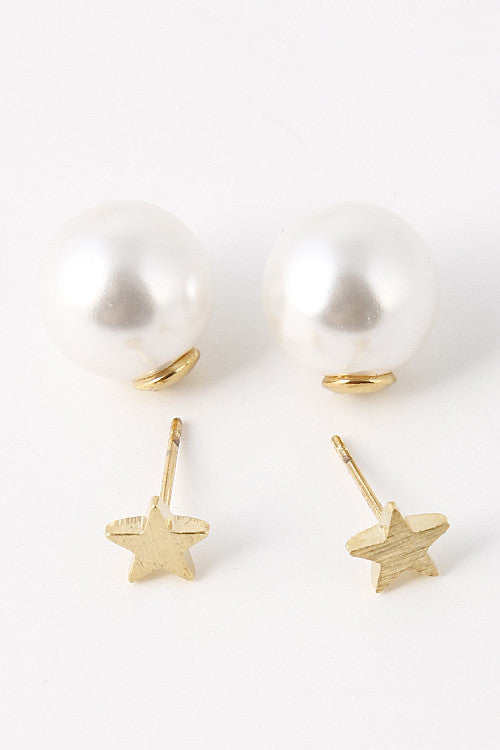 Fashion Star Cut Out Pearl Ball Gold Earring