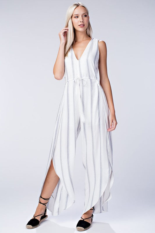 Fashion Contrast White Casual Jumpsuit