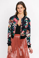 Fashion Black Floral Print Velvet Bomber Jacket