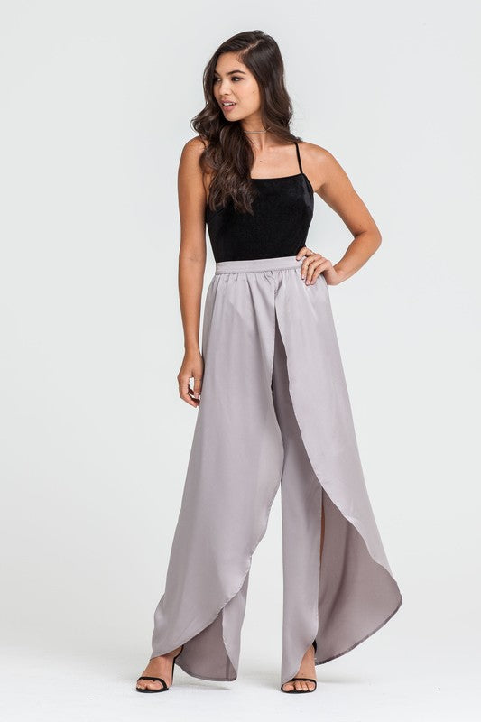 Elegant Grey Cut Out Satin Pants