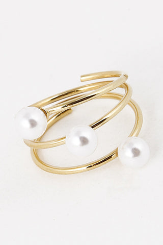 Elegant Three Pearl Wrap Gold Ring