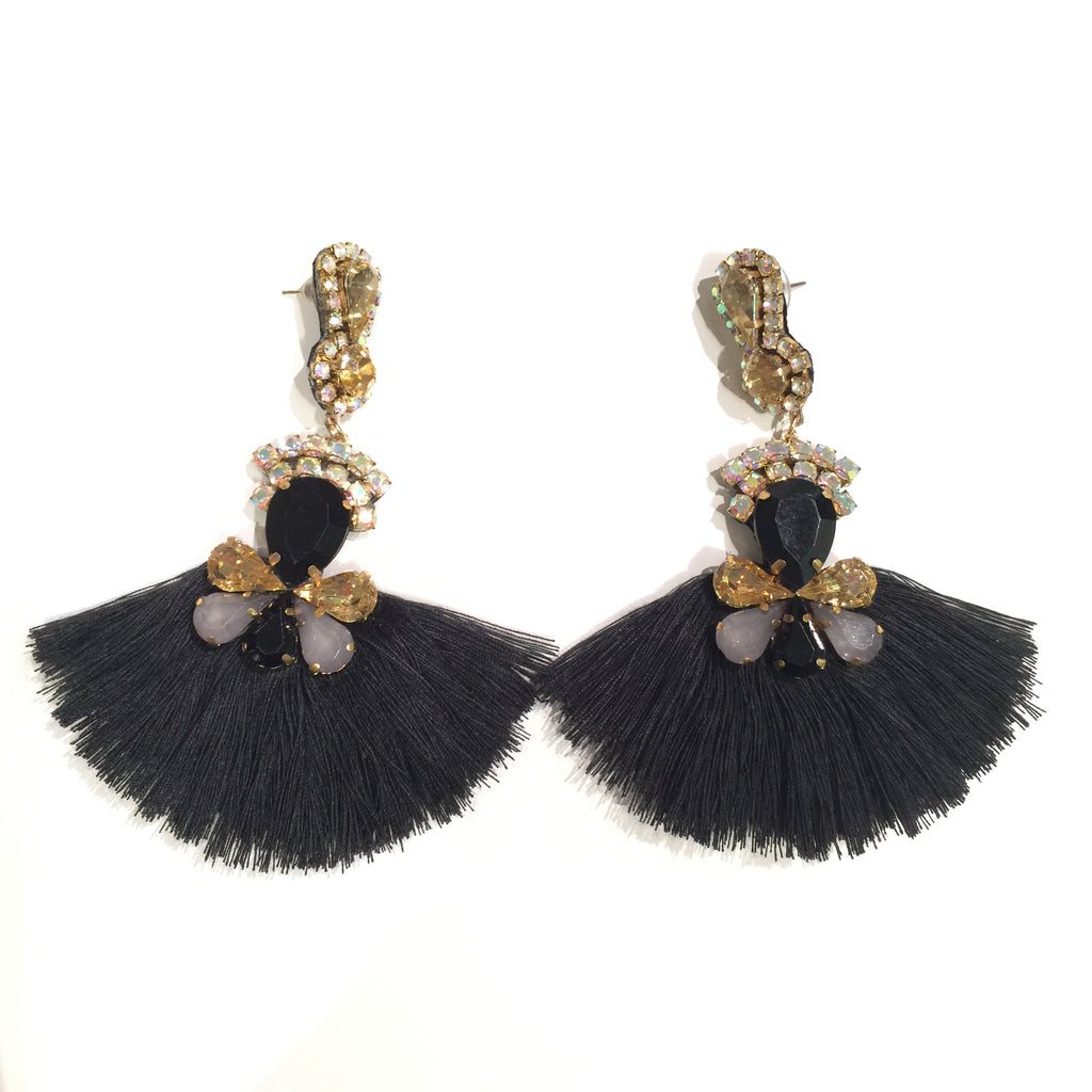 Fashion Black Tassel Designer Long Fringe Gold and Black Crystal Earrings