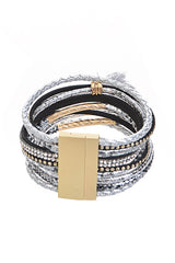 Fashion Silver Rhinestone Layered Bracelet with Tassel