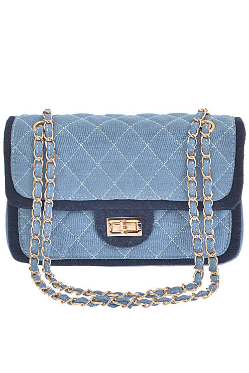 Fashion Light Blue Denim Quilted Clutch