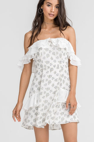 Summer Off Shoulder Ruffle Floral Print White Dress