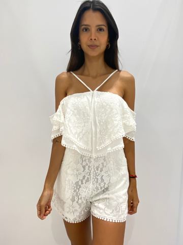 Fashion Off Shoulder White Lace Tassel Romper