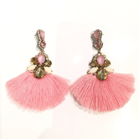 Fashion Pink Tassel Designer Long Fringe Pink and Gold Crystal Earrings