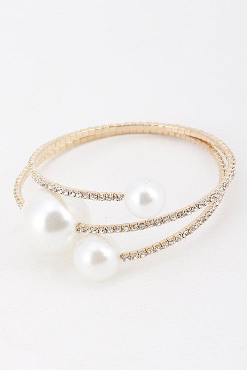 Spiral Pearls and Rhinestone Bracelet