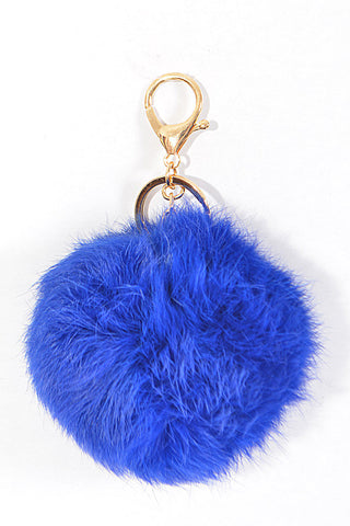 Small Blue Pom Pom Gold Key Chain
