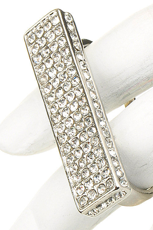 Rectangle Rhinestone Two Finger Ring