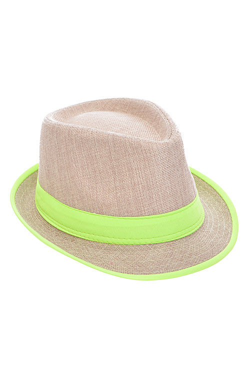 Summer Neon Yellow Strapped Straw Hat
