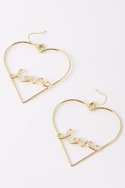 Fashion Heart With Love ID Gold Earring