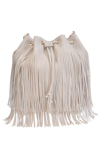 Fashion Fringe Pouch Beige Backpack