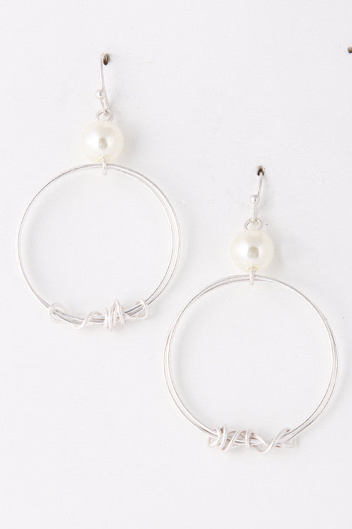 Fashion Silver Circle Earrings with Pearl