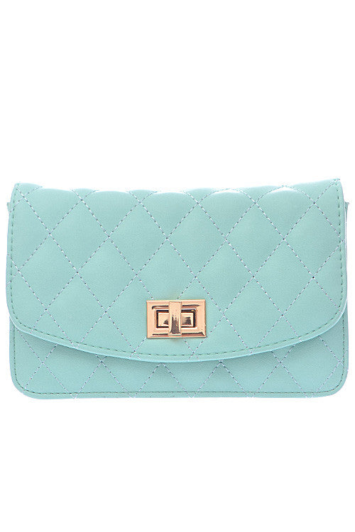 Mint Clutch with Quilted Golden Detail