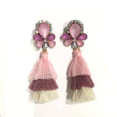 Fashion Multi-Color Tassel Designer Long Fringe Pink Crystal Earrings