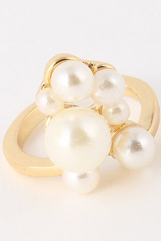 Elegant Mixed Pearl Gold Ring