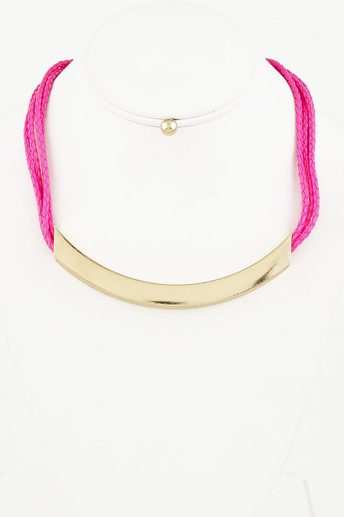Pink Neon Strap Gold Necklace