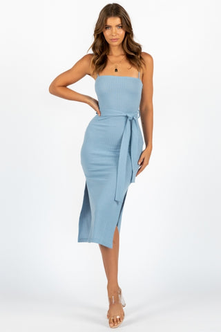 Fashion Blue Strap Bodycon Tie-up Dress