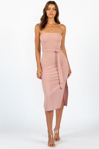 Fashion Blush Strap Bodycon Tie-up Dress