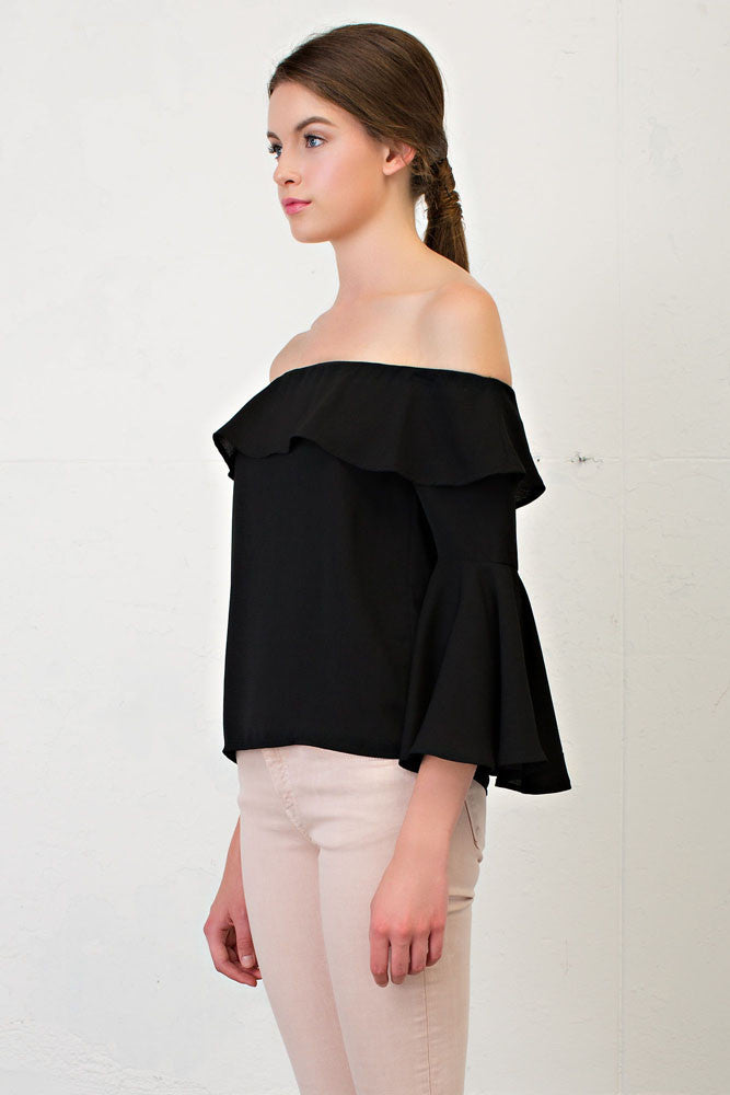 e5564ed2691 Elegant Black Off Shoulder Flare Bell Sleeve Top – EDITE MODE