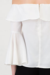 Elegant White Off Shoulder Flare Bell Sleeve Top
