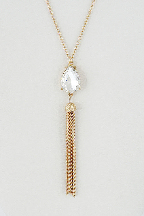 Elegant Long Tear Drop Rhinestone Necklace