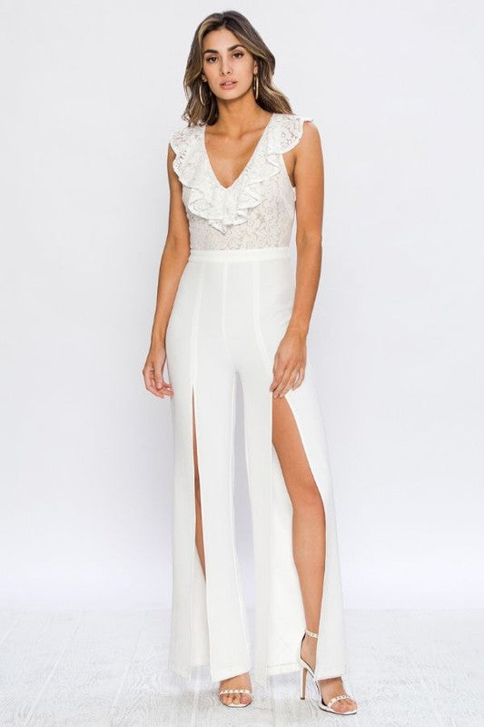 Elegant White Lace Ruffle Sleeveless Cut Out Jumpsuit