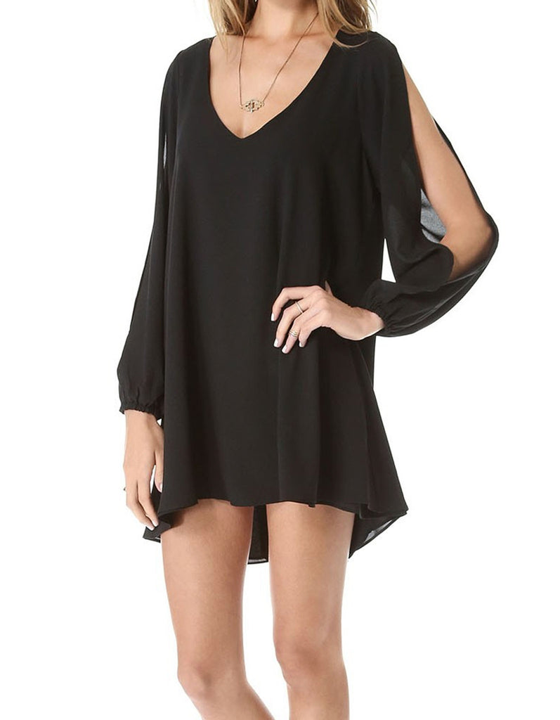 Asymmetrical V neck Black Dress