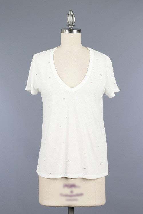 Fashion White V-Neck Vintage T-Shirt