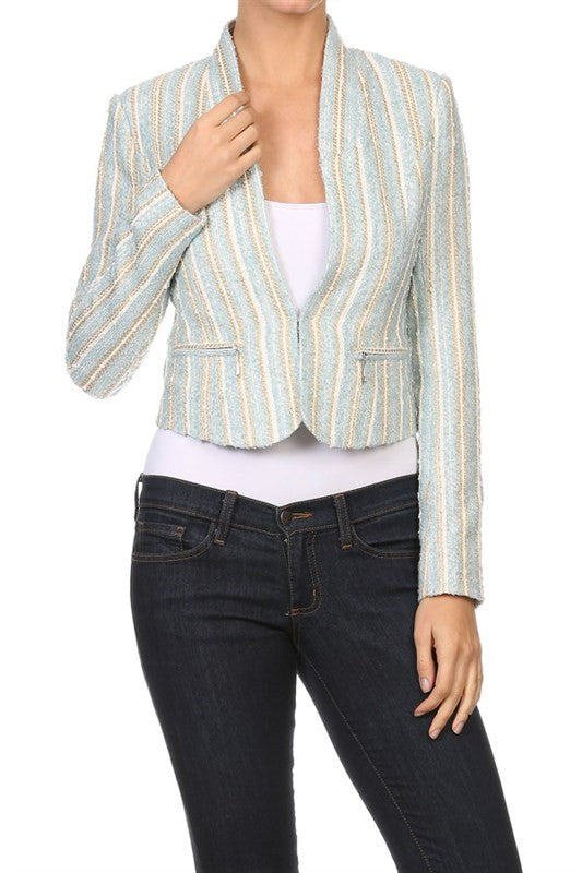 Elegant Blue Striped Cropped Jacket