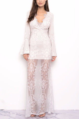 Elegant White Lace Contrast Maxi Dress with Bell Sleeve