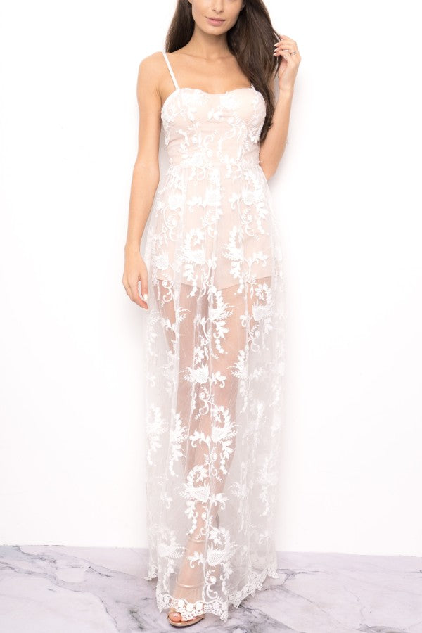 Cocktail Floral Lace White Maxi Romper