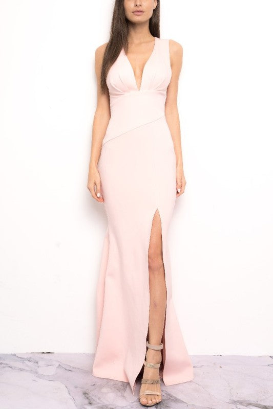 Cocktail Pink V-Neck Bodycon Maxi Dress with Middle Slit