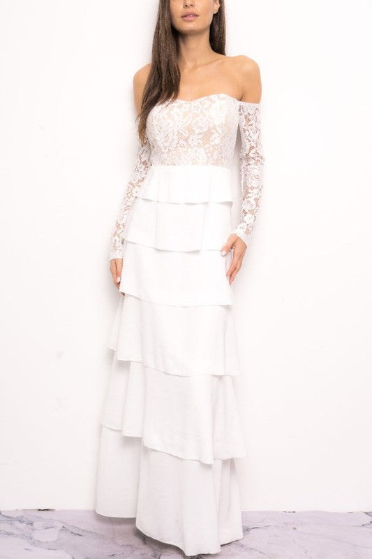 2a3c606649ab2 Elegant Off Shoulder Floral Lace Ruffle White Maxi Dress with Long Sle – EDITE  MODE