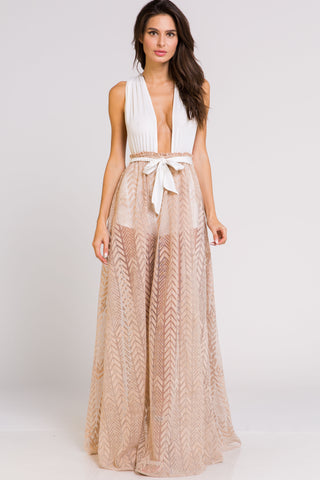 Elegant Beige Halter Cross Tie-Up Maxi Romper