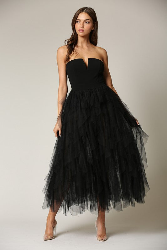 Elegant Black Couture Bodycon Ruffle Puffy Mesh Dress
