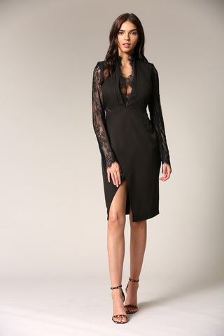 Elegant Black Lace Deep V-Neck Cut-Out Dress with Detailed Sleeve