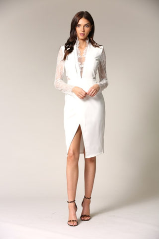 Elegant White Lace Deep V-Neck Cut-Out Dress with Detailed Sleeve