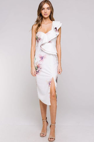 Elegant White Multi-Color Floral Print One Shoulder Ruffle Bodycon Dress with Slit