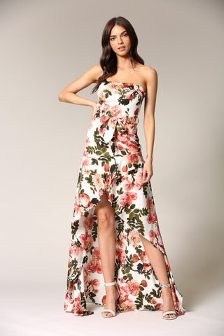 Elegant Strapless Ivory Multi-Color Floral Print Tie-Up Ruffle High Low Maxi Dress