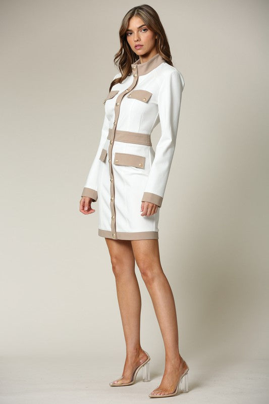 Elegant White Nude Button Down Dress with Long Sleeve