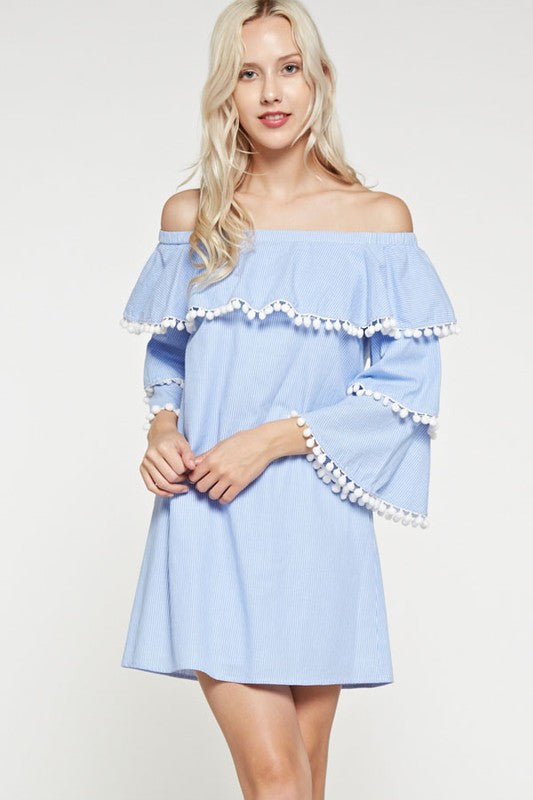 Fashion Marine Off Shoulder Pompom Dress